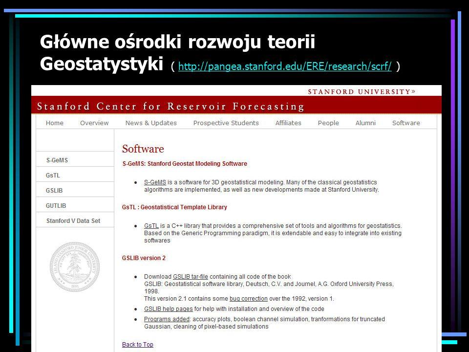 Główne ośrodki rozwoju teorii Geostatystyki ( http://pangea. stanford