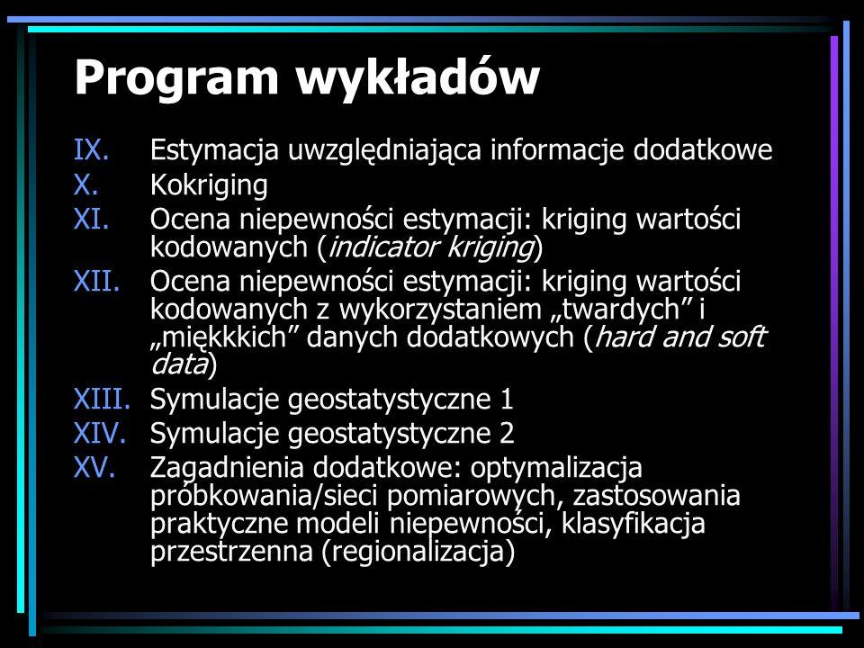 Program wykładów Estymacja uwzględniająca informacje dodatkowe