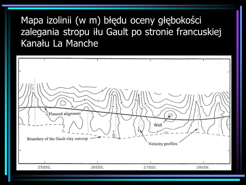 Mapa izolinii (w m) błędu oceny głębokości zalegania stropu iłu Gault po stronie francuskiej Kanału La Manche