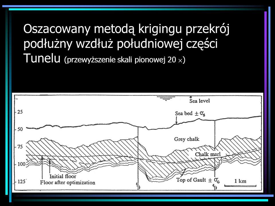 Oszacowany metodą krigingu przekrój podłużny wzdłuż południowej części Tunelu (przewyższenie skali pionowej 20 )