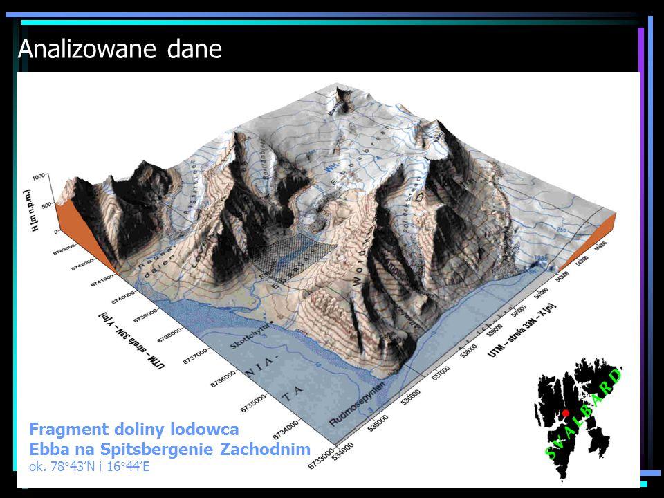 Analizowane dane Fragment doliny lodowca