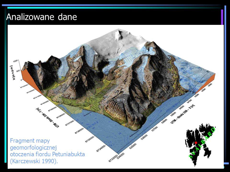 Analizowane dane Fragment mapy geomorfologicznej