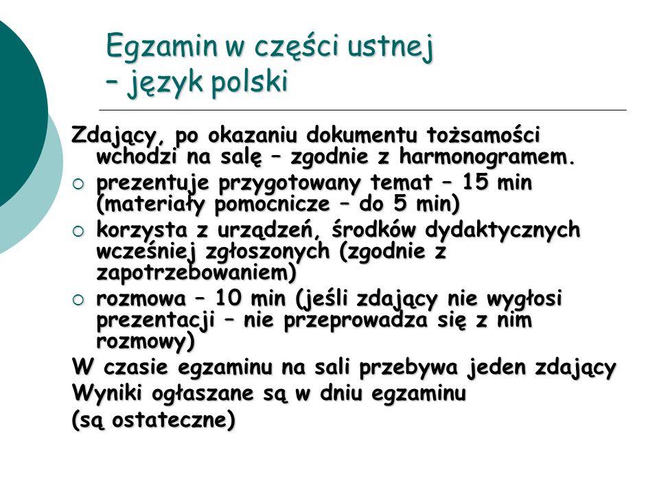 Egzamin w części ustnej – język polski