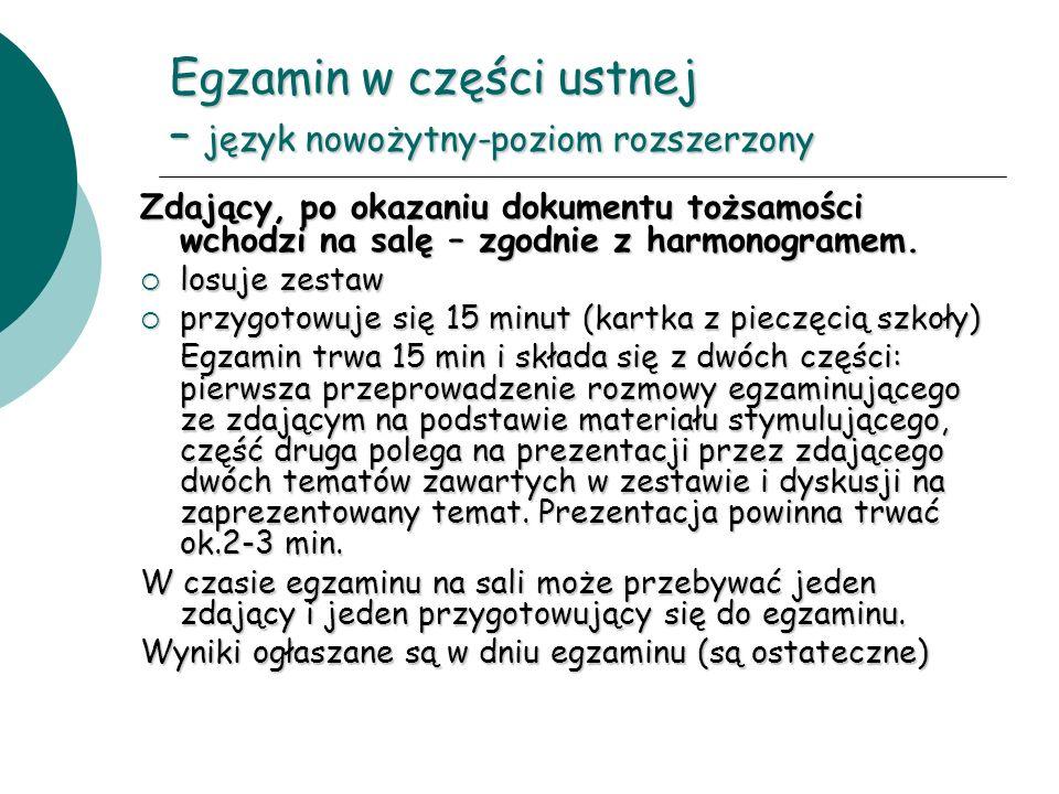 Egzamin w części ustnej – język nowożytny-poziom rozszerzony