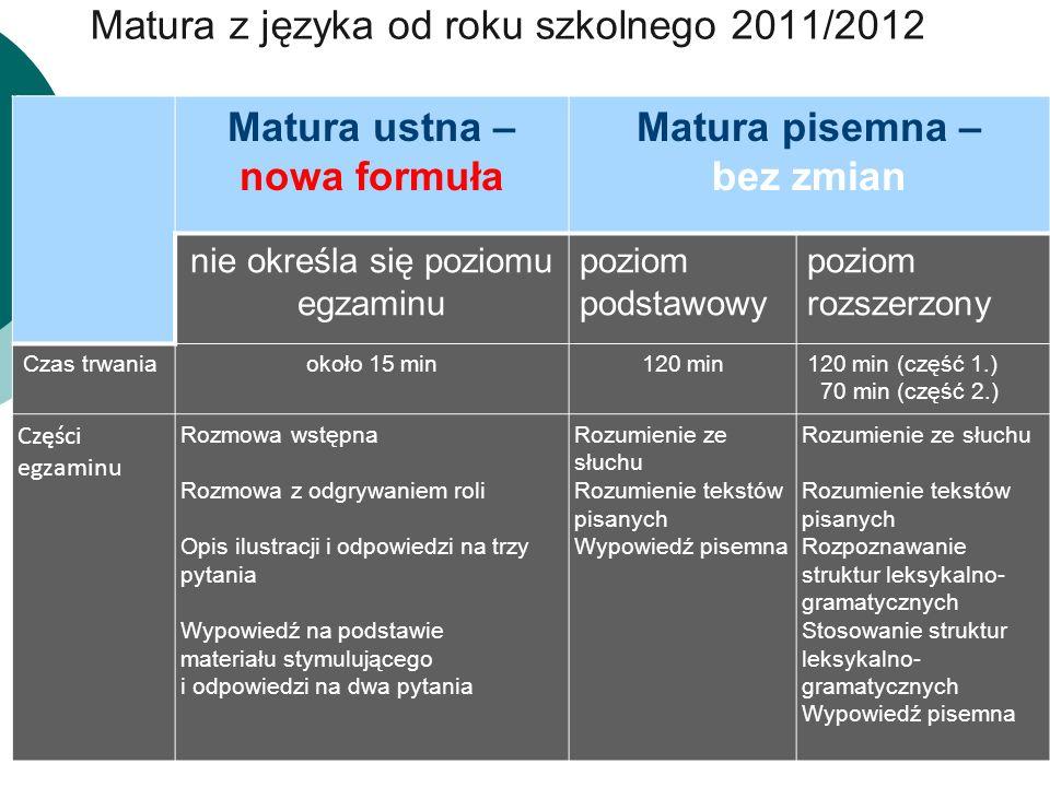 Matura z języka od roku szkolnego 2011/2012