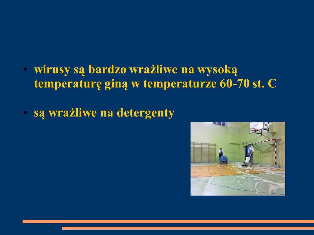 wirusy są bardzo wrażliwe na wysoką temperaturę giną w temperaturze 60-70 st. C