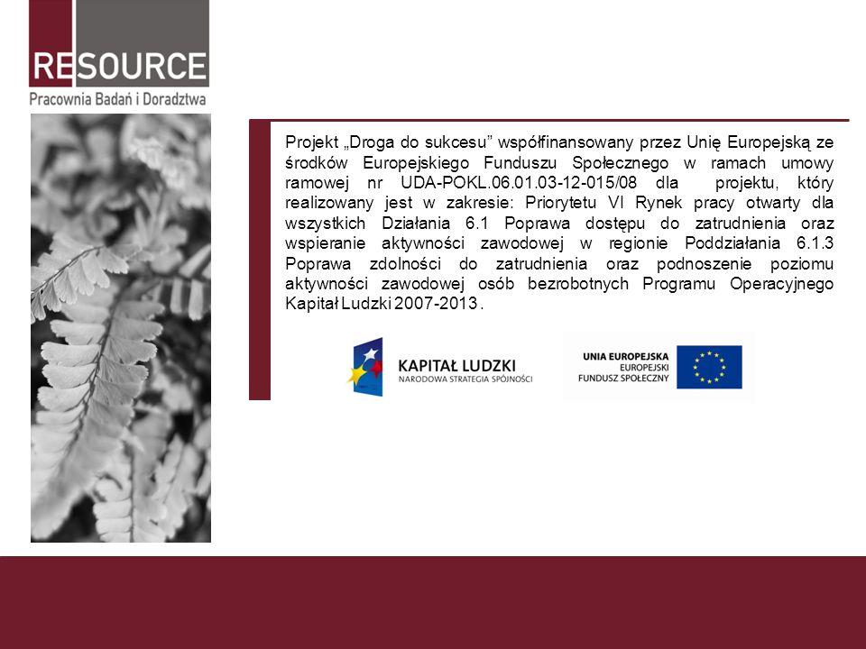 """Projekt """"Droga do sukcesu współfinansowany przez Unię Europejską ze środków Europejskiego Funduszu Społecznego w ramach umowy ramowej nr UDA-POKL.06.01.03-12-015/08 dla projektu, który realizowany jest w zakresie: Priorytetu VI Rynek pracy otwarty dla wszystkich Działania 6.1 Poprawa dostępu do zatrudnienia oraz wspieranie aktywności zawodowej w regionie Poddziałania 6.1.3 Poprawa zdolności do zatrudnienia oraz podnoszenie poziomu aktywności zawodowej osób bezrobotnych Programu Operacyjnego Kapitał Ludzki 2007-2013 ."""
