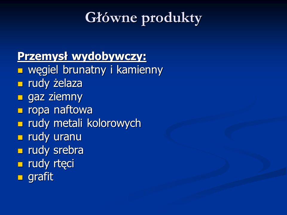 Główne produkty Przemysł wydobywczy: węgiel brunatny i kamienny