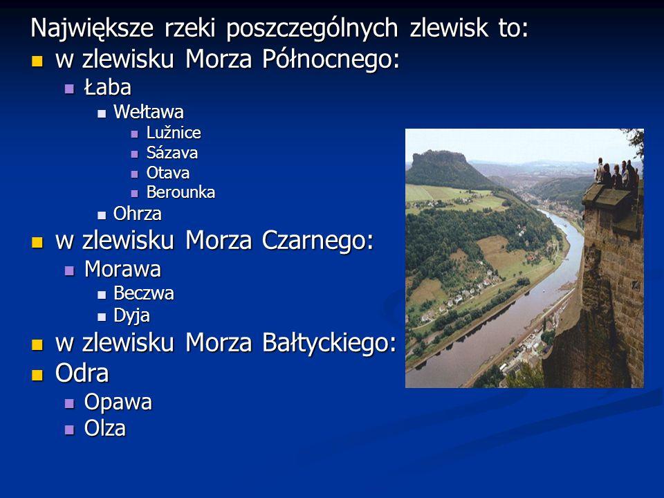 Największe rzeki poszczególnych zlewisk to: