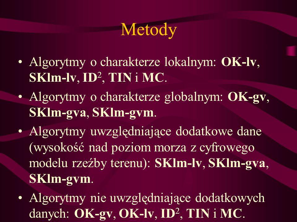 Metody Algorytmy o charakterze lokalnym: OK-lv, SKlm-lv, ID2, TIN i MC. Algorytmy o charakterze globalnym: OK-gv, SKlm-gva, SKlm-gvm.