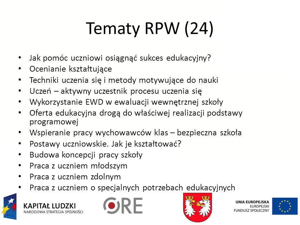 Tematy RPW (24) Jak pomóc uczniowi osiągnąć sukces edukacyjny