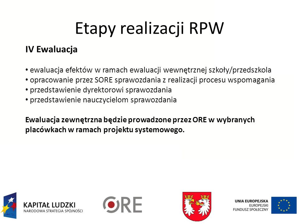 Etapy realizacji RPW IV Ewaluacja