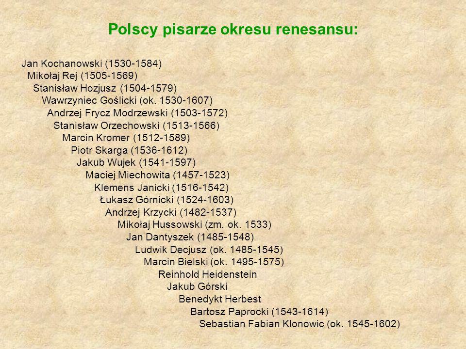 Polscy pisarze okresu renesansu: