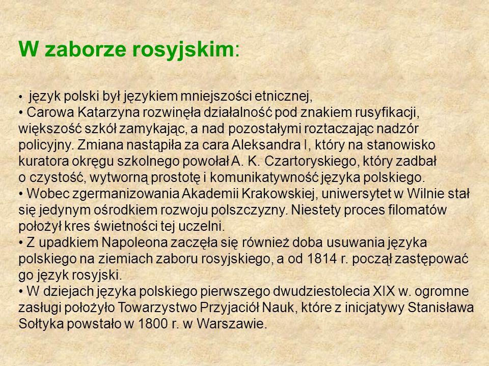 W zaborze rosyjskim: język polski był językiem mniejszości etnicznej,