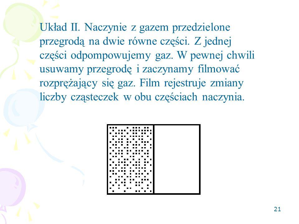 Układ II. Naczynie z gazem przedzielone przegrodą na dwie równe części