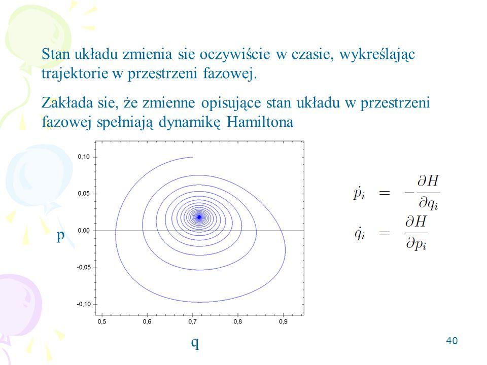 Stan układu zmienia sie oczywiście w czasie, wykreślając trajektorie w przestrzeni fazowej.