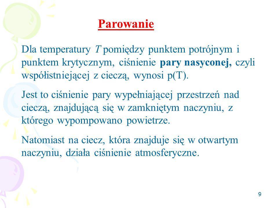 Parowanie Dla temperatury T pomiędzy punktem potrójnym i punktem krytycznym, ciśnienie pary nasyconej, czyli współistniejącej z cieczą, wynosi p(T).