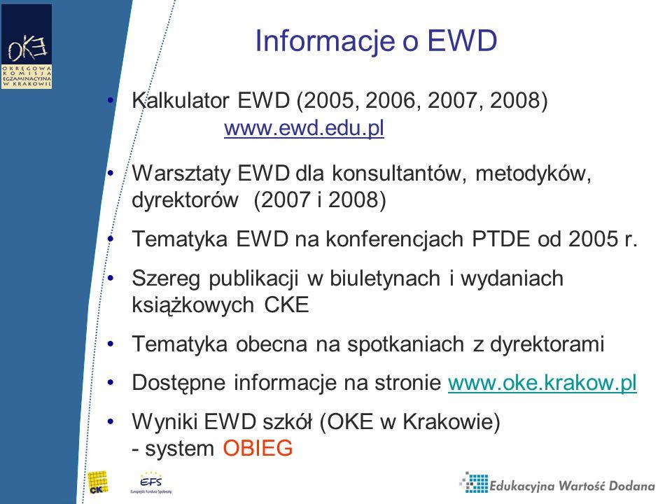 Informacje o EWDKalkulator EWD (2005, 2006, 2007, 2008) www.ewd.edu.pl.