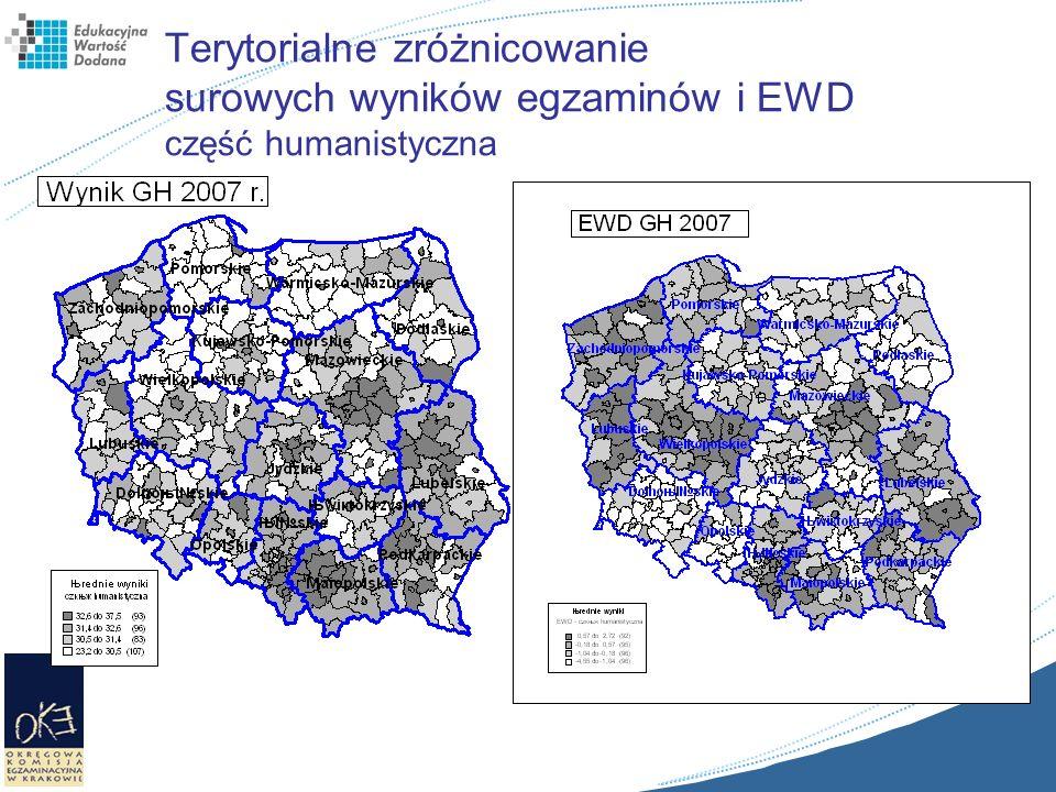 Terytorialne zróżnicowanie surowych wyników egzaminów i EWD część humanistyczna
