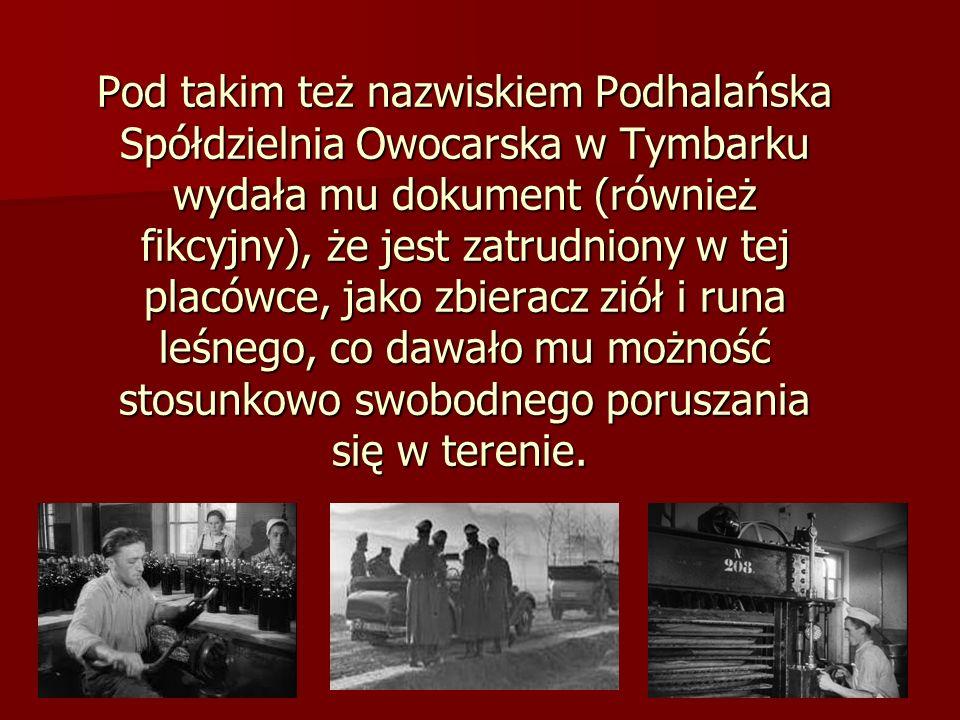 Pod takim też nazwiskiem Podhalańska Spółdzielnia Owocarska w Tymbarku wydała mu dokument (również fikcyjny), że jest zatrudniony w tej placówce, jako zbieracz ziół i runa leśnego, co dawało mu możność stosunkowo swobodnego poruszania się w terenie.