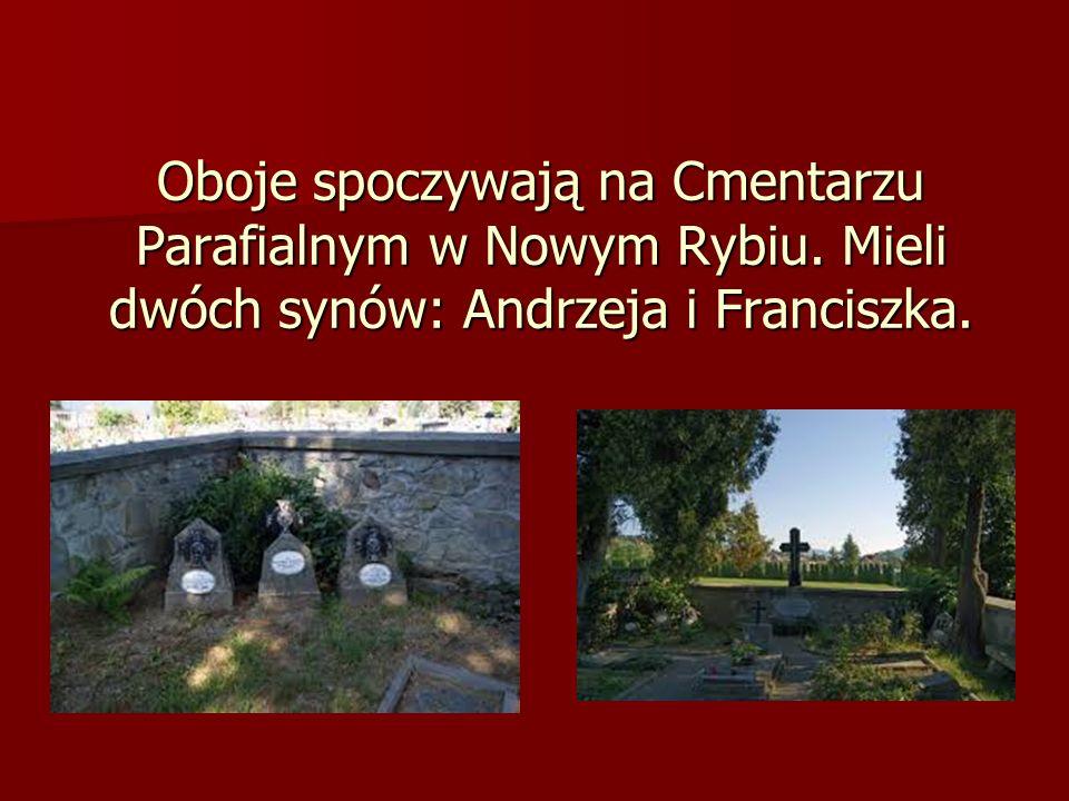 Oboje spoczywają na Cmentarzu Parafialnym w Nowym Rybiu