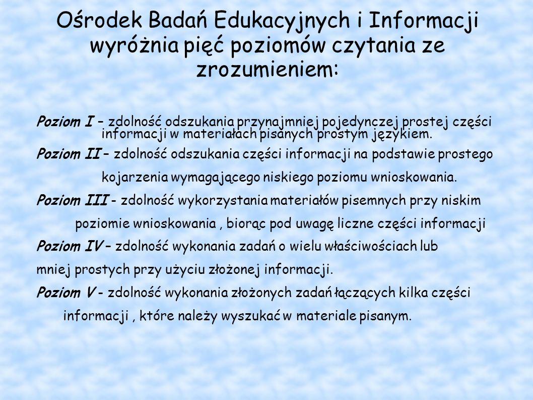 Ośrodek Badań Edukacyjnych i Informacji wyróżnia pięć poziomów czytania ze zrozumieniem: