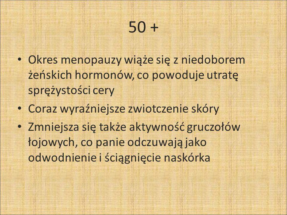 50 + Okres menopauzy wiąże się z niedoborem żeńskich hormonów, co powoduje utratę sprężystości cery.
