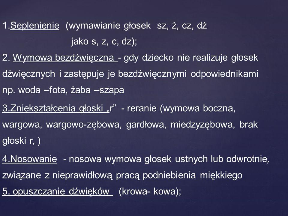 1. Seplenienie (wymawianie głosek sz, ż, cz, dż jako s, z, c, dz); 2