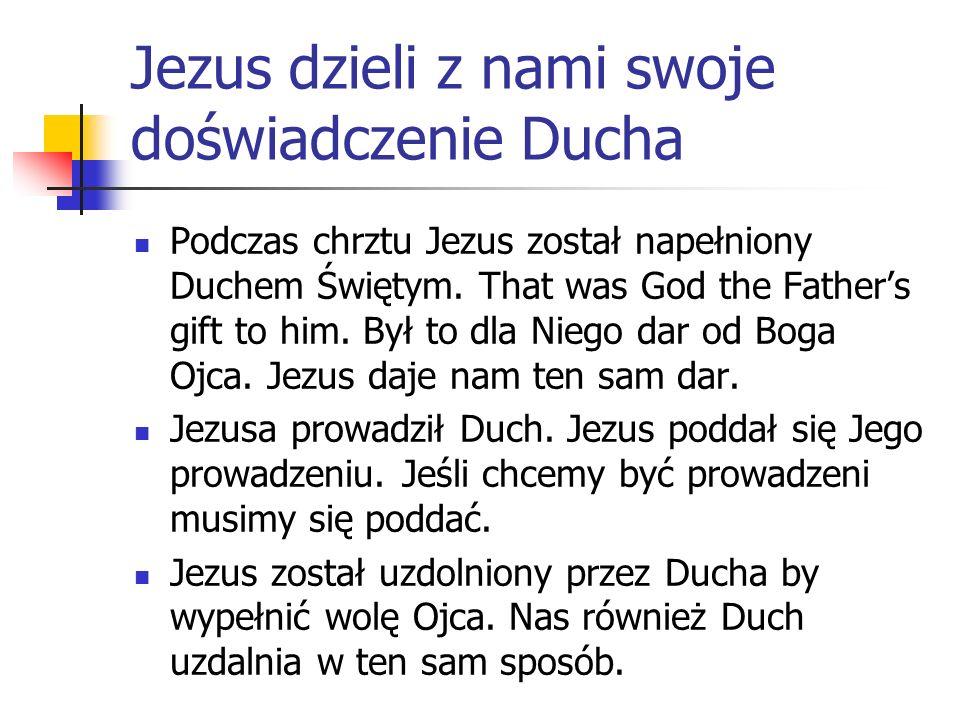 Jezus dzieli z nami swoje doświadczenie Ducha