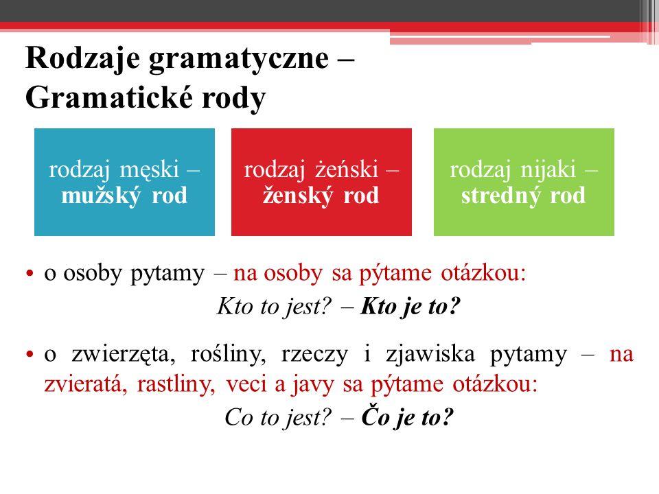 Rodzaje gramatyczne – Gramatické rody