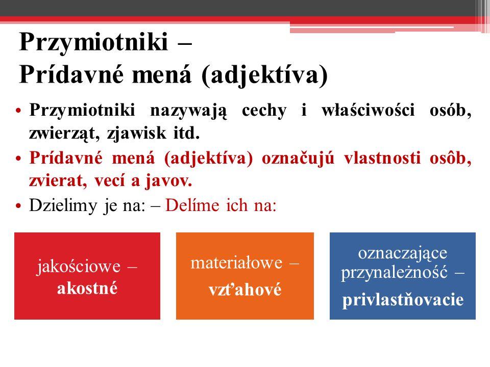 Przymiotniki – Prídavné mená (adjektíva)