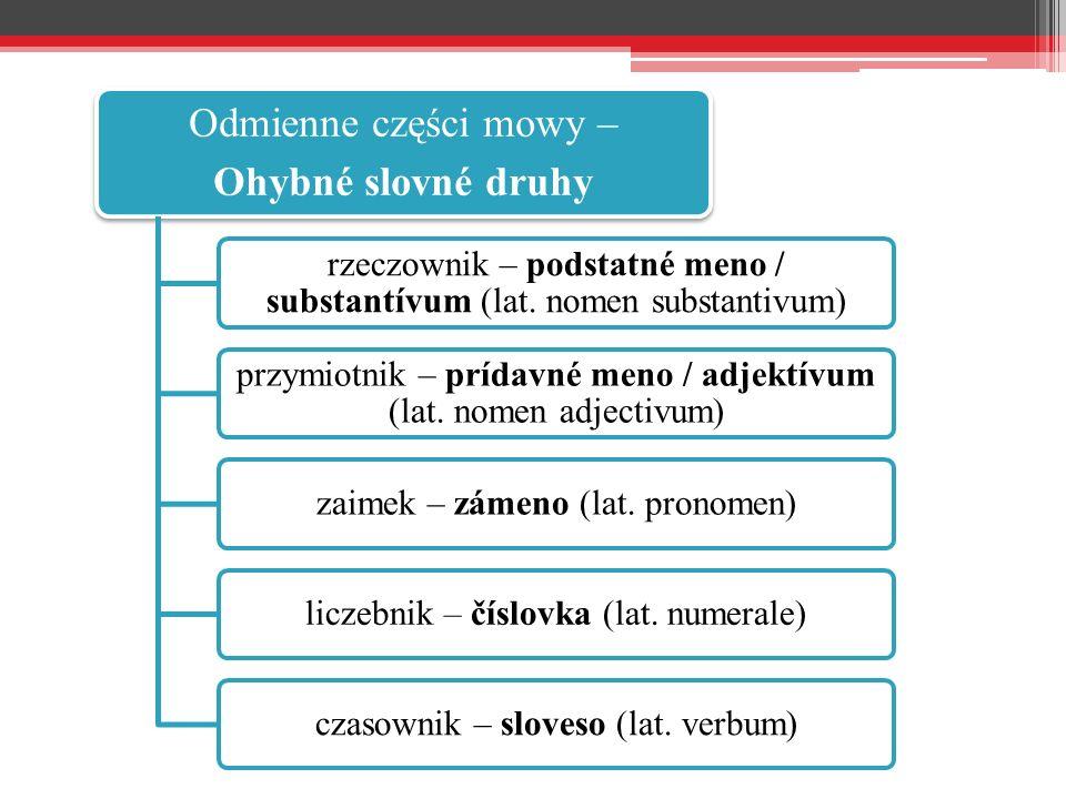 Odmienne części mowy – Ohybné slovné druhy