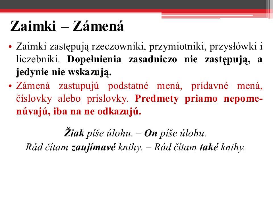 Zaimki – Zámená Zaimki zastępują rzeczowniki, przymiotniki, przysłówki i liczebniki. Dopełnienia zasadniczo nie zastępują, a jedynie nie wskazują.
