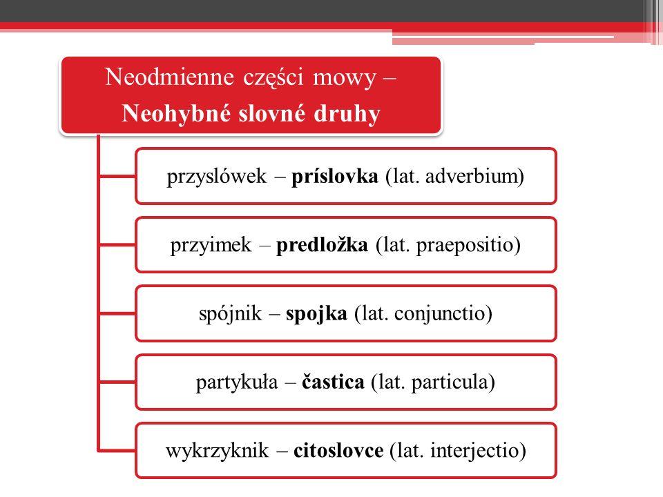 Neodmienne części mowy – Neohybné slovné druhy