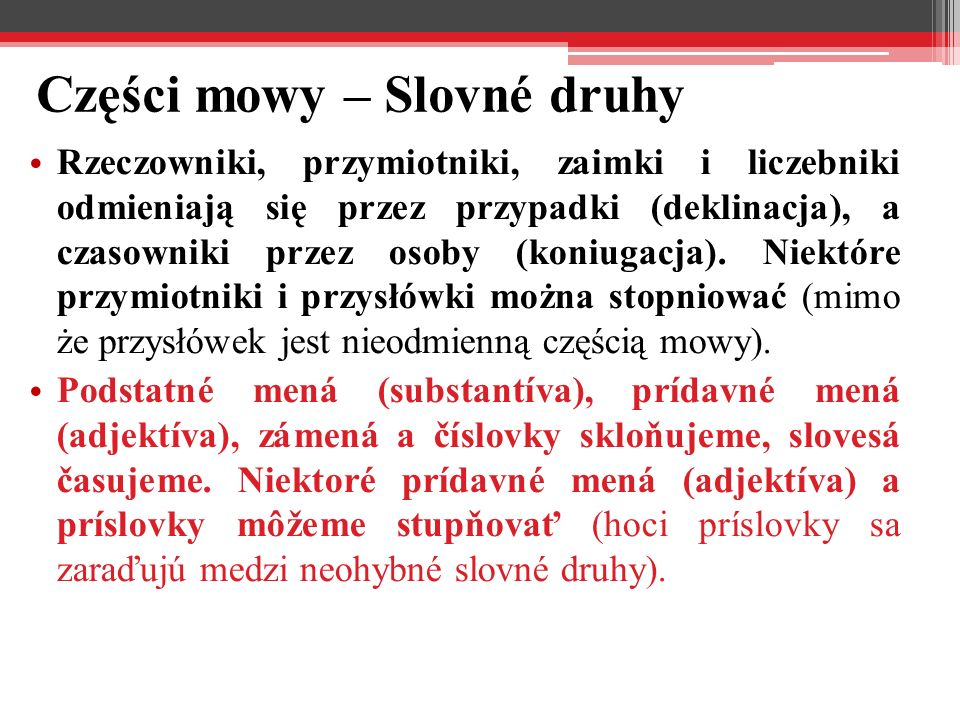 Części mowy – Slovné druhy