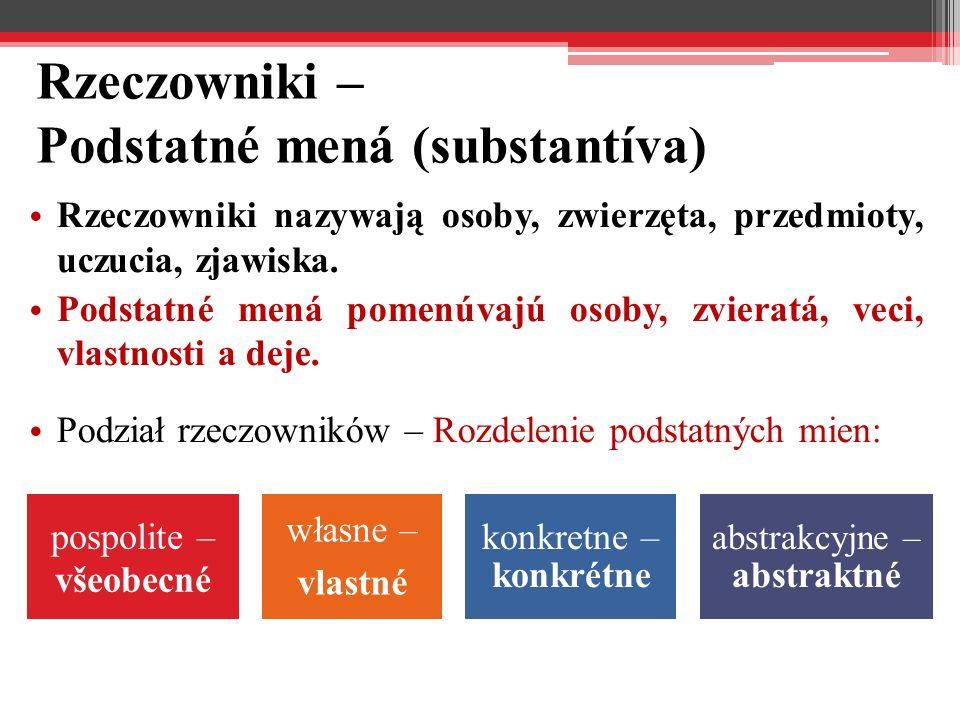 Rzeczowniki – Podstatné mená (substantíva)