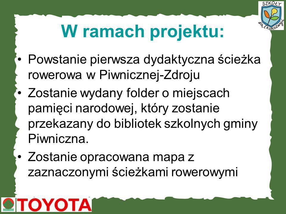 W ramach projektu: Powstanie pierwsza dydaktyczna ścieżka rowerowa w Piwnicznej-Zdroju.