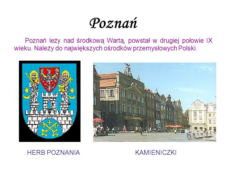 PoznańPoznań leży nad środkową Wartą, powstał w drugiej połowie IX wieku. Należy do największych ośrodków przemysłowych Polski.