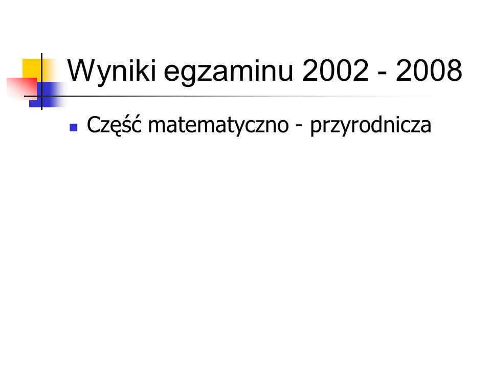 Wyniki egzaminu 2002 - 2008 Część matematyczno - przyrodnicza