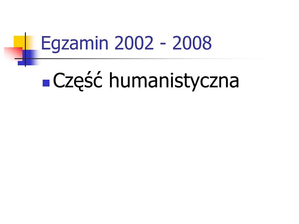 Egzamin 2002 - 2008 Część humanistyczna