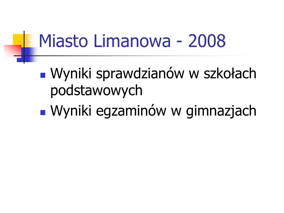 Miasto Limanowa - 2008 Wyniki sprawdzianów w szkołach podstawowych