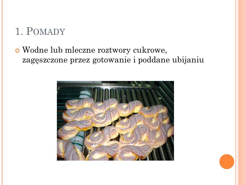 1. Pomady Wodne lub mleczne roztwory cukrowe, zagęszczone przez gotowanie i poddane ubijaniu