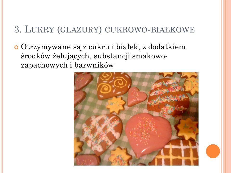 3. Lukry (glazury) cukrowo-białkowe