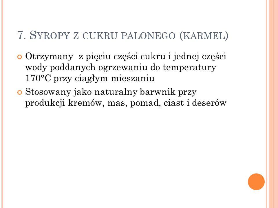 7. Syropy z cukru palonego (karmel)
