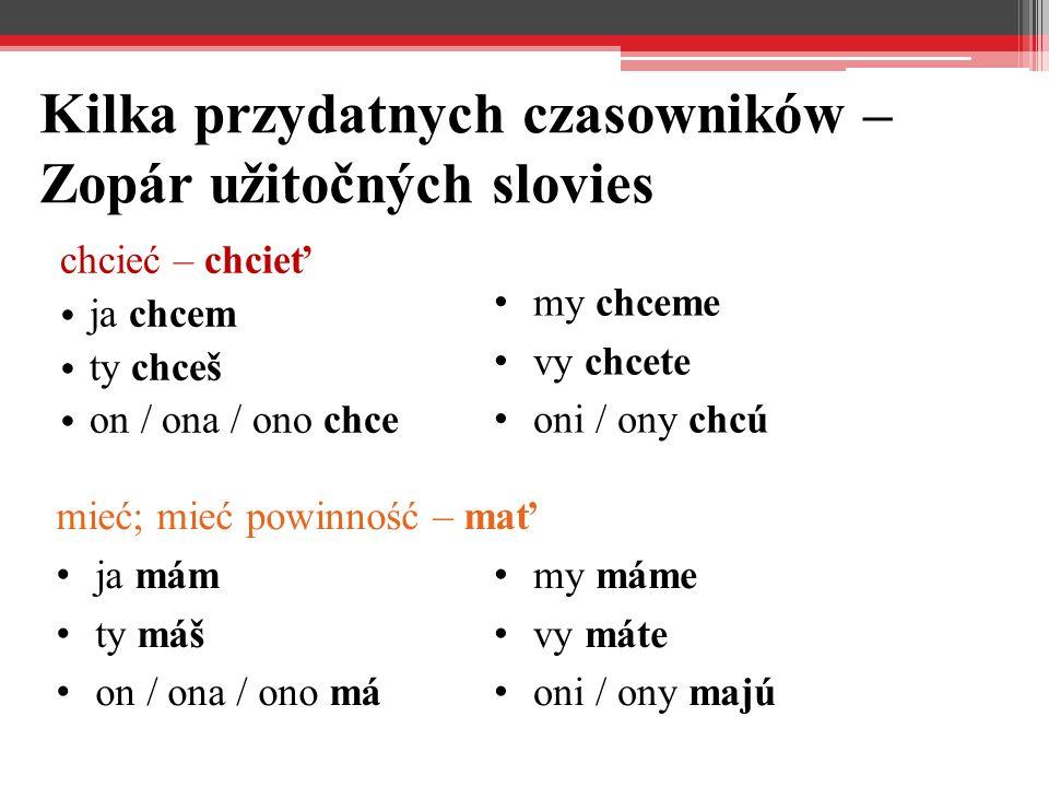 Kilka przydatnych czasowników – Zopár užitočných slovies