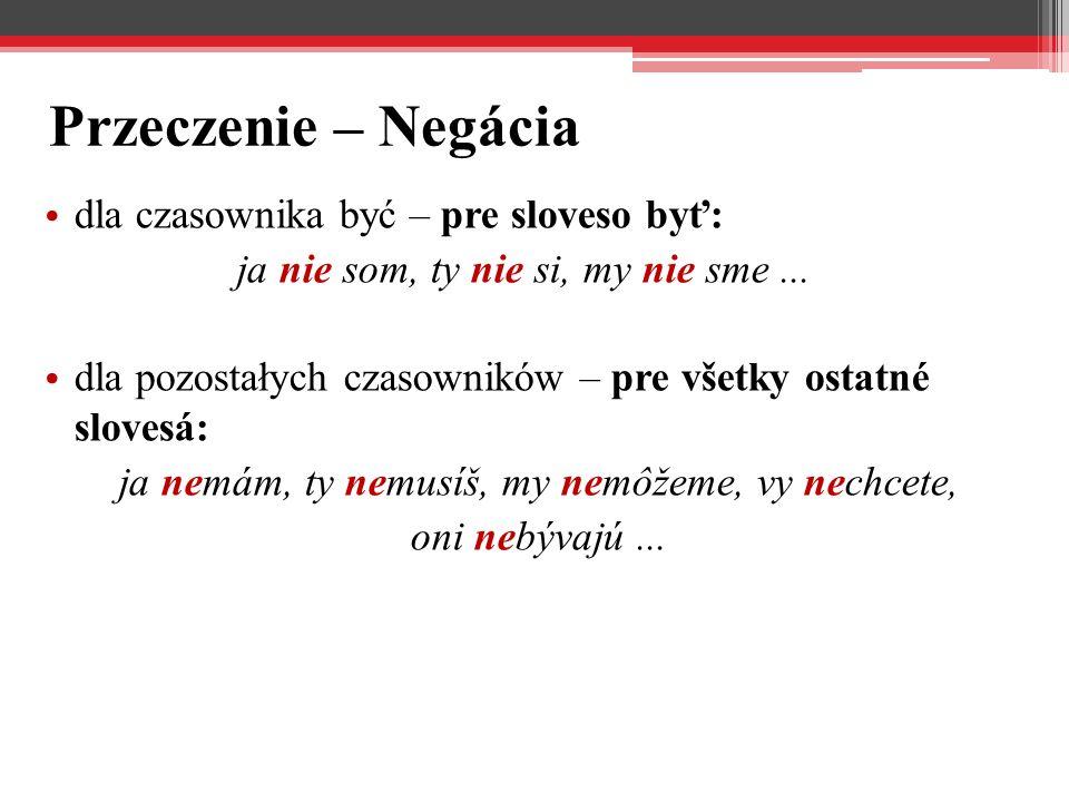 Przeczenie – Negácia dla czasownika być – pre sloveso byť: