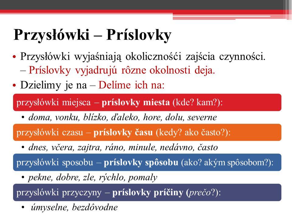 Przysłówki – Príslovky
