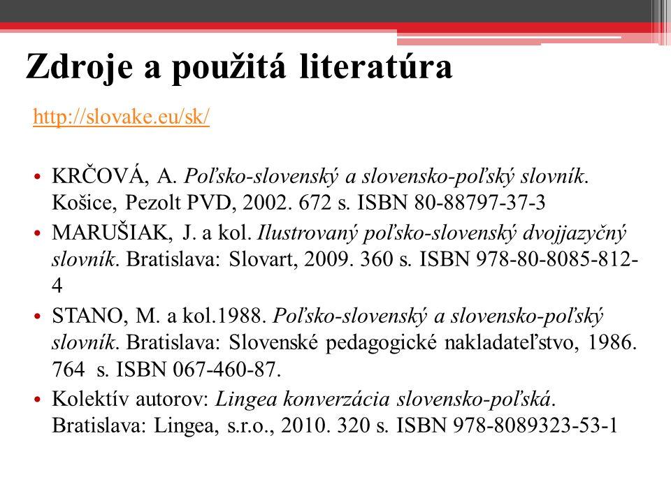 Zdroje a použitá literatúra