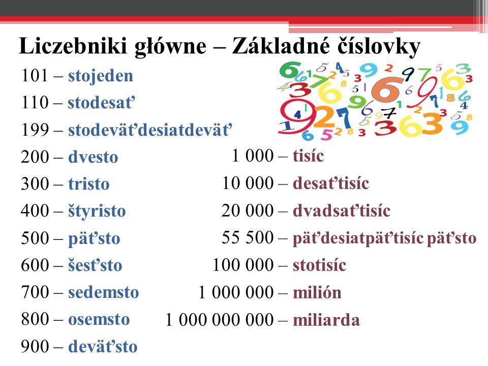 Liczebniki główne – Základné číslovky