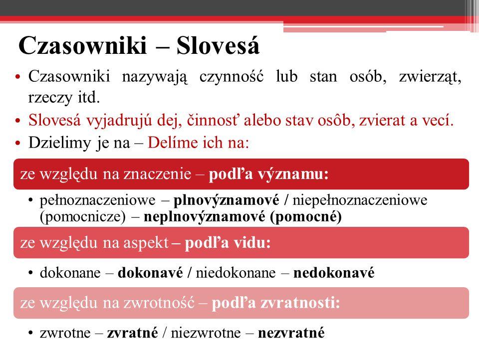 Czasowniki – Slovesá Czasowniki nazywają czynność lub stan osób, zwierząt, rzeczy itd.